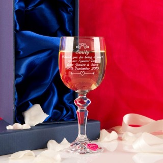 Personalised Sister of the Bride Wine Glass With Wine Charm and Presentation Box