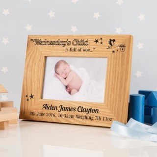 Wednesdays Child Personalised Oak Frame