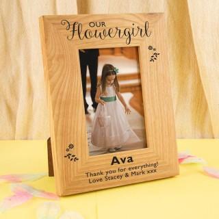 Personalised Flower Girl Oak Photo Frame