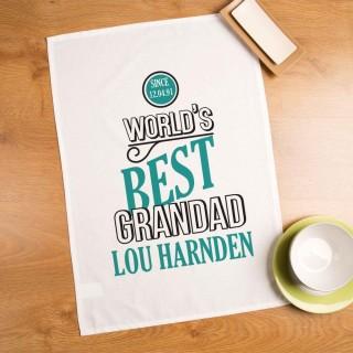 Personalised Worlds Best Grandad Printed Tea Towel