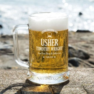 Cheers Usher Personalised Glass Pint Tankard: Special Offer
