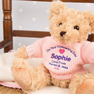 Embroidered Christening Teddy Bear: Pink Jumper