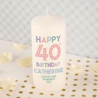 Personalised 40th Birthday Pillar Candle