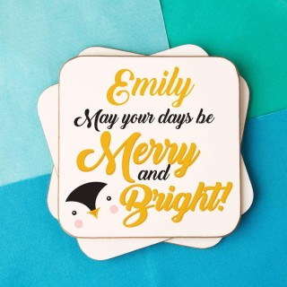 "Cute Penguin ""Merry and Bright"" Customised Coaster"