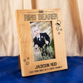 Customised Ring Bearer Oak Photo Frame: Top Hat