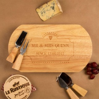 Mr & Mrs Wedding Cheeseboard & Knife Set