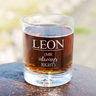 Personalised Mr Always Right Tumbler Glass