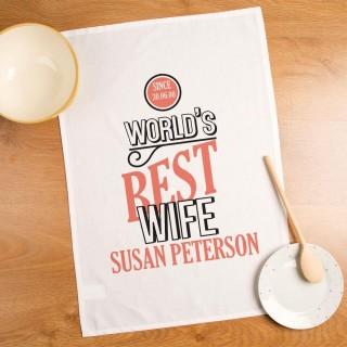 Worlds Best Wife Personalised Tea Towel