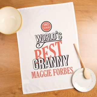 Customised Worlds Best Granny Printed Tea Towel