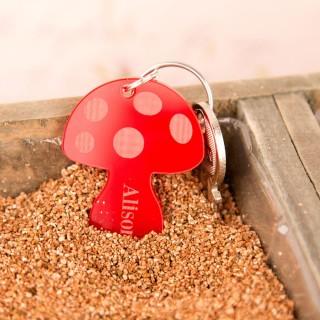 Personalised Junko Style Acrylic Toadstool Keyring