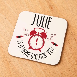 Quirky Wine O Clock Personalised Drinks Coaster