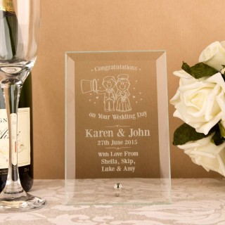 Bride & Groom Glass Plaque