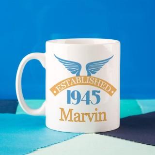 70th Birthday Established Since Mug For Him