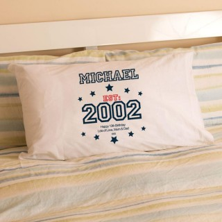 Boys 13th Birthday Established Since (Year) Pillowcase