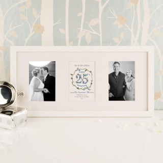 Personalised 25th Silver Wedding Anniversary 3 Aperture Frame