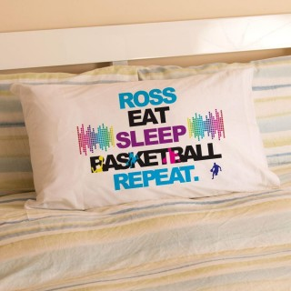 Personalised Eat Sleep Basketball Repeat Pillowcase
