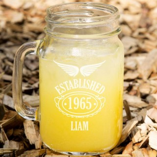 Established Since 50th Birthday Male Glass Mason Jar