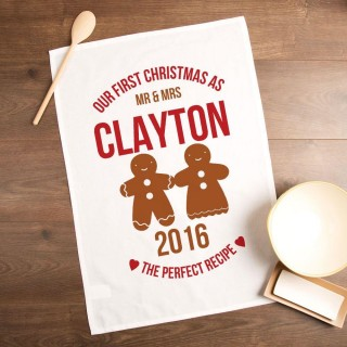 Personalised First Married Christmas Gingerbread Tea Towel