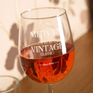 Real Vintage Classic Personalised Wine Glass