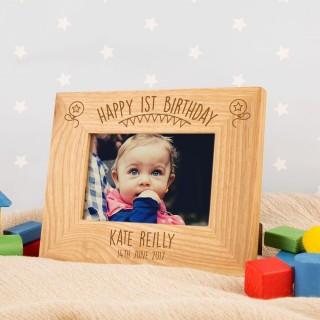 1st Birthday Engraved Oak Frame