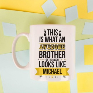 Personalised Awesome Brother of the Groom Mug