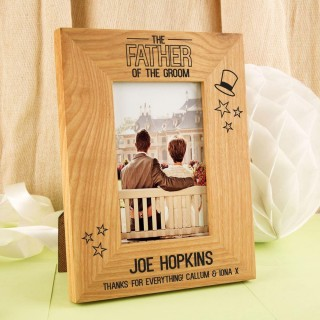 Personalised Father of the Groom Oak Frame