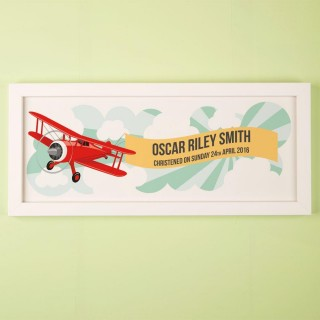 Personalised Aeroplane Christening Print
