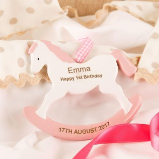 Unique Pink Girls First Birthday Rocking Horse Ornament