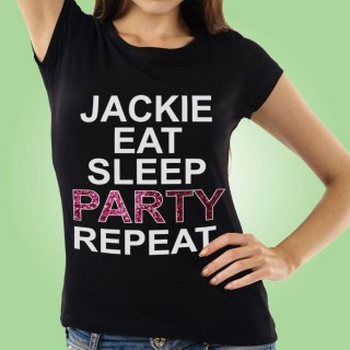 Eat Sleep Party Repeat Custom Black Hen T-Shirt
