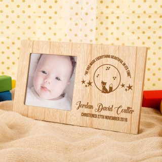 Babys Personalised Fox & Verse Christening Photo Frame