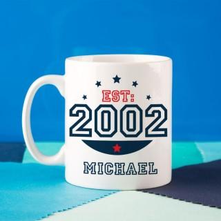 Personalised 13th Birthday Est Mug For Him