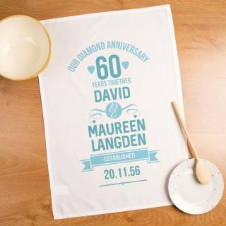 60th Diamond Wedding Anniversary Personalised Tea Towel