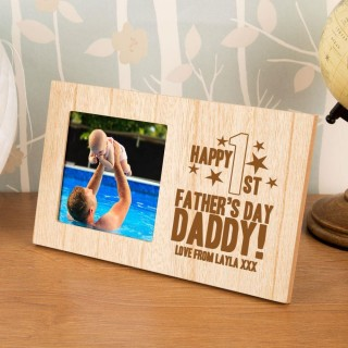 personalised first fathers day photo frame