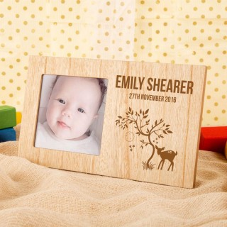 Engraved Fawn Design Photo Frame with Babys Name & Date