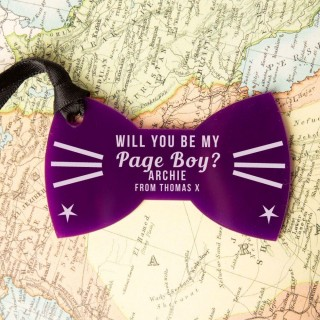 Laser Engraved Will You Be My Page Boy Acrylic Bow Tie