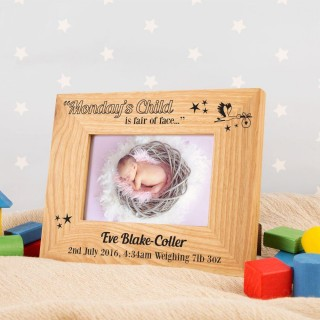 Personalised Mondays Child Oak Frame