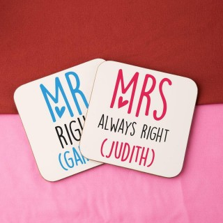 Mr & Mrs Always Right Personalised Double Coaster Set