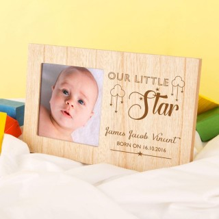 Personalised Our Little Star Photo Frame for Baby Boys & Girls