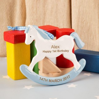 Bespoke Blue First Birthday Rocking Horse Ornament
