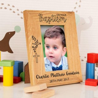 Personalised On Your Baptism Oak Frame