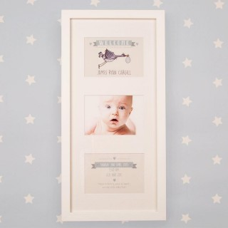 Personalised Baby Stork Portrait Orientation 3 Aperture Frame