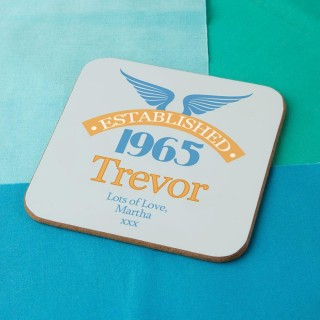50th Birthday Established Year Drinks Coaster for Him