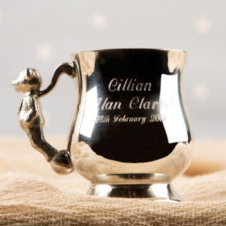 Engraved Georgian Pewter Teddy Cup. Gift Boxed.