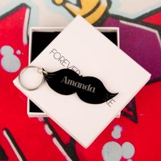 Personalised Junko Style Acrylic Moustache Keyring