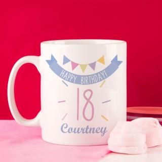 Girls 18th Birthday Bunting Mug