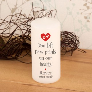 Paw Prints Personalised Pet Memorial Candle