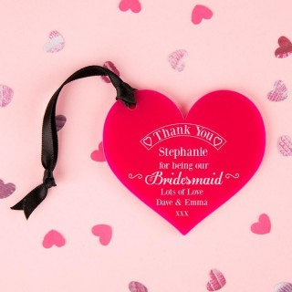 Bridesmaid Thank You Keepsake Acrylic Heart