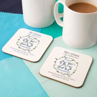 Personalised 25th Silver Anniversary Double Coaster Set