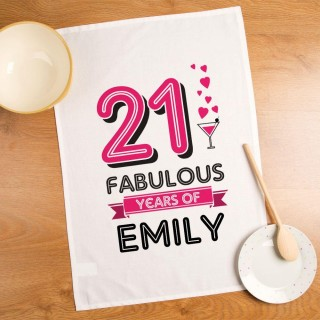 21 Fabulous Years Personalised Printed Tea Towel