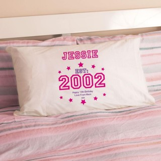 Girls 13th Birthday Established Year Pillowcase